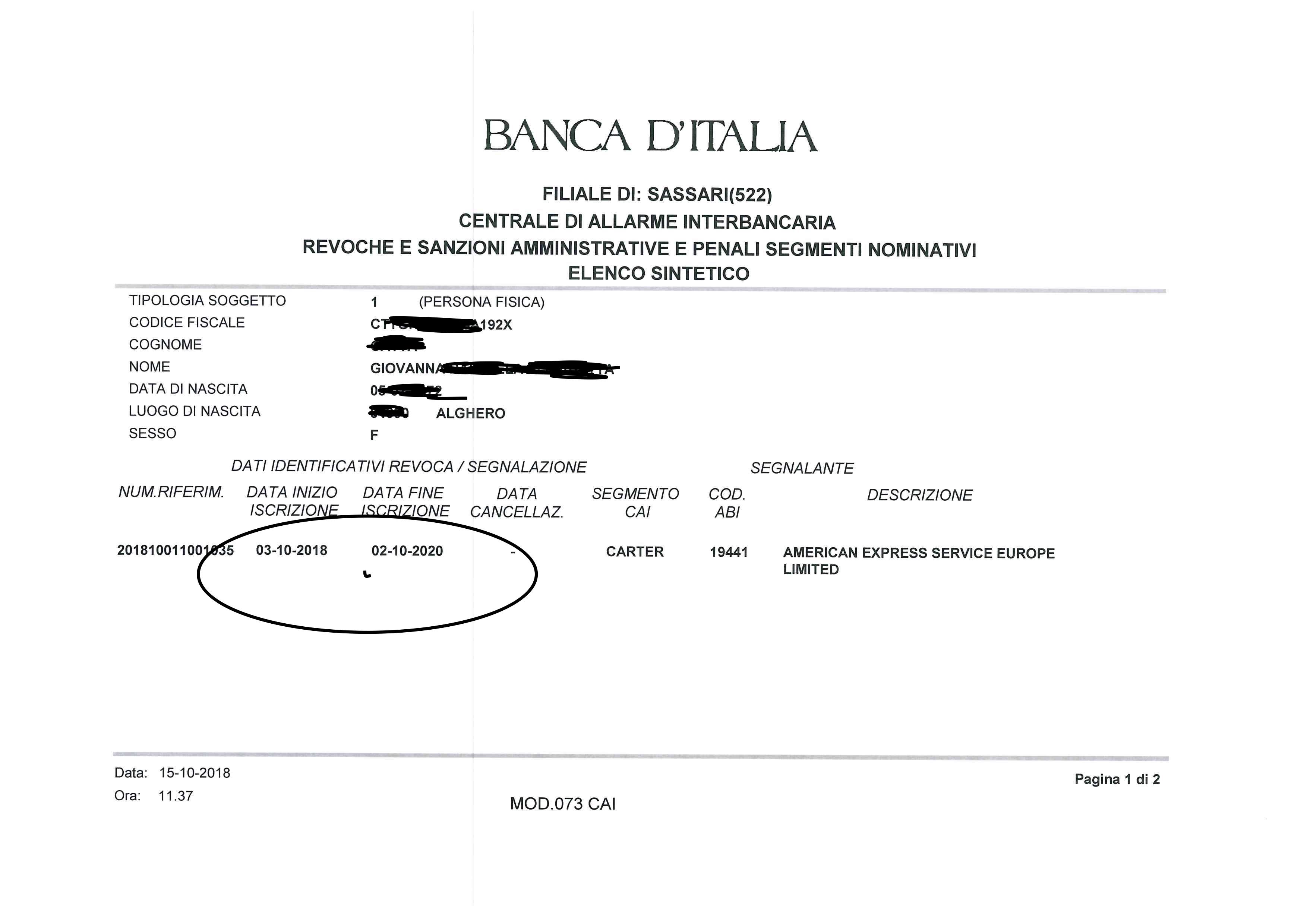 LUCA PACINI, SEGNALAZIONE CAI CARTER